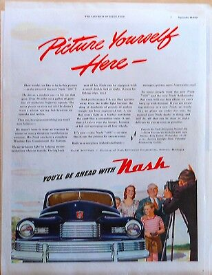 "Vintage 1946 magazine ad for Nash - Picture Yourself with a Nash ""600"", blue car"