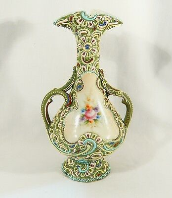 Antique JAPANESE Moriage Vase Floral Spray Center Pre Nippon 10 1/2 inch