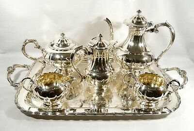 6 pc Silver Birks Silver Plate Tea Service COFFEE POT TEA POT HOT WATER TRAY Set