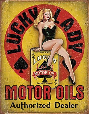 Lucky Lady Motor Oils Vintage Retro Tin Metal Sign 13 x 16in
