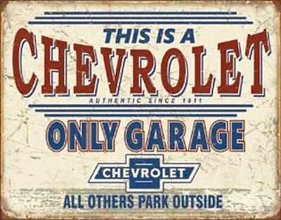 Chevy Only Garage Vintage Retro Tin Metal Sign 13 x 16in
