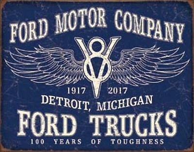 Ford Trucks - 100 Years Vintage Retro Tin Metal Sign 13 x 16in