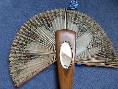 Antique ladies hand fan, Sorrento ware with inset mirror