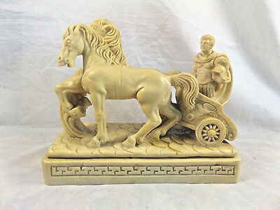 Vintage A. Gianetti Italy ~ Roman Gladiator with Chariot Heavy Resin Sculpture