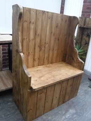 Reclaimed Solid Wood Rustic Farmhouse Church Pew/Monks Bench/Seat with storage.