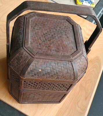 Antique Chinese Woven Bamboo Stacking  Wedding Basket Carved Handles  2 Tier