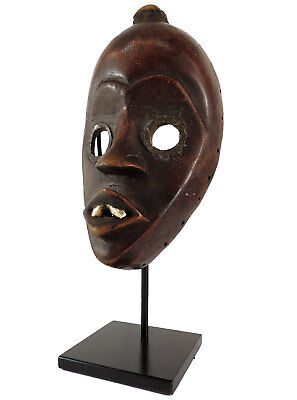 Dan Mask with Teeth Deangle Liberia Custom Stand Africa  SALE WAS $310