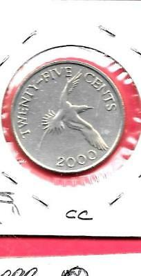 Bermuda Km110 2000 25 Cents Vf-Very Fine-Nice Large Old Bird Coin