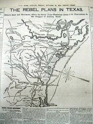 <1863 CIVIL WAR dspl newspaper wLarge MAP TEXAS EXPEDITION Confederate Guerillas