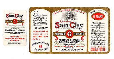 1950s SAM CLAY DISTILLING CO, BARDSTOWN, KENTUCKY WHISKEY LABEL SET