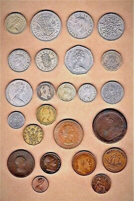 Great Britain 25 coin lot w/ 1797 Penny, 1885 1/2 Penny, 1835 Farthing  + + +