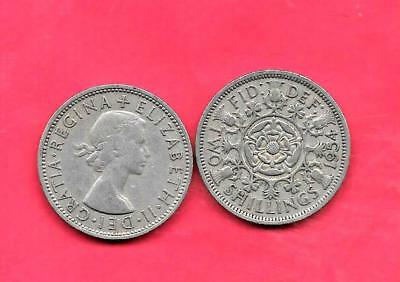 GREAT BRITAIN GB UK KM906 1954 vf-very fine-nice old vintage large florin coin