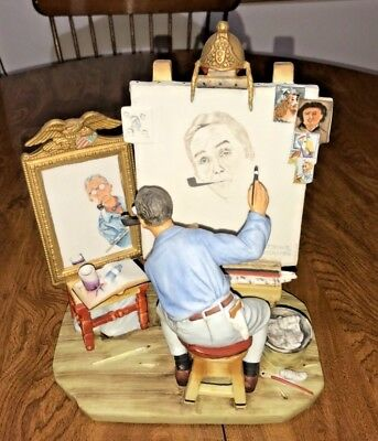 Vintage 1978 Norman Rockwell Triple Self Portrait Ceramic Figurine 134 of 5000