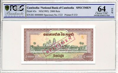 National Bank  Of  Cambodia  2000 Reis ND(1995) Specimen  PCGS  64OPQ