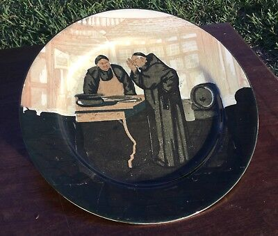 ANTIQUE ROYAL DOULTON WHIMSICAL ENGLISH MONK in FISH MARKET PLATE SGND
