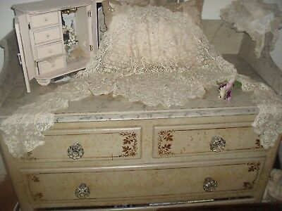 Original Antique Large Maltese Silk Lace Mantilla Shawl ~ Outstanding