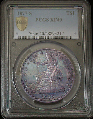 1877 s PCGS XF40 Colorful Toned Trade Dollar (ph198)
