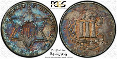 1857 PCGS AU55 Colorful Toned 3 Cent Silver (ph193)