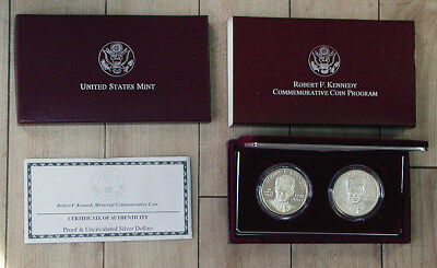 1998 Robert Kennedy Proof & Uncirculated 2-Coin Silver Dollar Set w/Box & COA rb