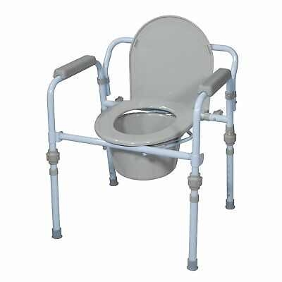 Drive Medical Folding Bedside Commode Seat with Commode Bucket and Splash Guard