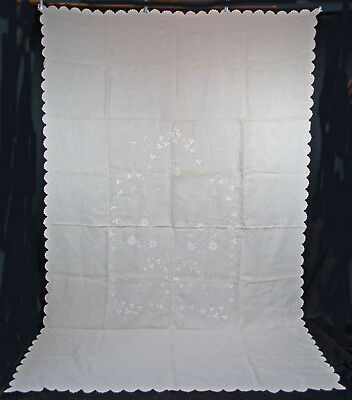 """VINTAGE LINEN BEDSPREADS WHITE 1920's HAND EMBROIDERED FLORALS 111"""" x 69"""""""
