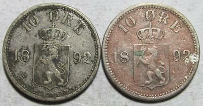 Norway, 10 Ore, 1892, 1 Fine & 1 Very Good, .0386 Ounce Silver