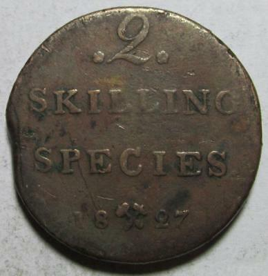 Norway, 2 Skilling, 1827, Very Good, Clipped, Rim Ding, Copper