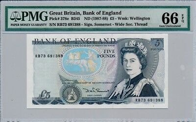 Bank of England Great Britain  5 Pounds ND(1986-88)  PMG  66EPQ