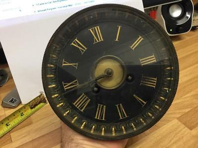 Antique Black Dial Clock Movement For Repairs Or Spares. French I Think