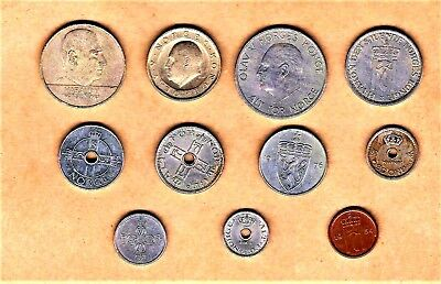 Norge (Norway) 11 coin lot w/ 1927 and up including 20 Krone thru 1 Ore coins