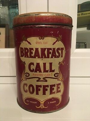 Vintage Breakfast Call Coffee 1lb Pantry Can Advertising Tin - Cinnamon Stick