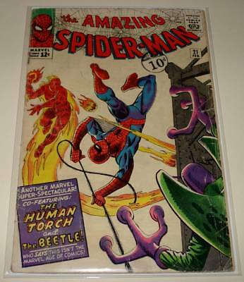 The AMAZING SPIDER-MAN # 21  Marvel Comic (Feb 1965) FR/GD Human Torch / Beetle