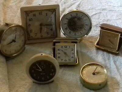 7x vintage clocks for parts or repair mixed lot
