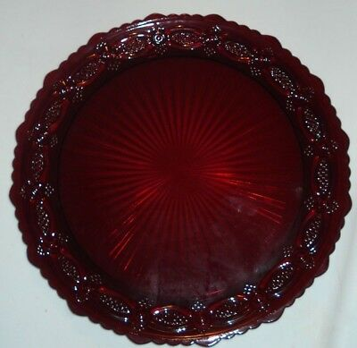"""Vintage Avon 1876 Cape Cod Dinner Plate 10-3/4"""" Ruby Red Glass 1 New"""