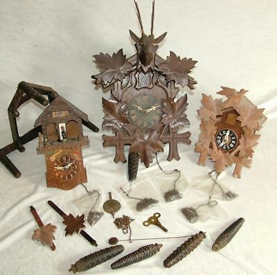 3 x VINTAGE WOODEN CUCKOO CLOCKS FROM AN OLD ESTATE CLEARANCE
