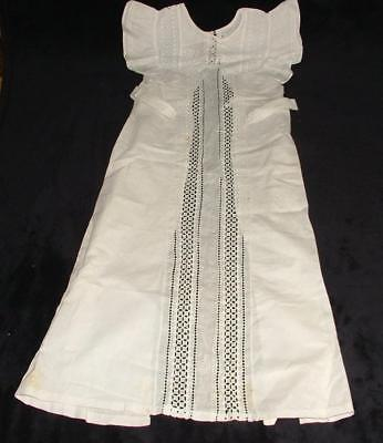 "ANTIQUE CHILD'S GOWN CHRISTENING DRESS LACE FRONTED COTTON 45"" LONG x 24"" WIDEST"
