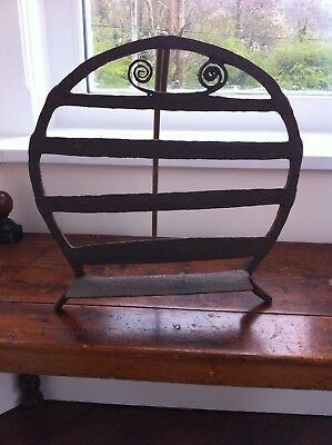 LOVELY DECORATIVE 19th CENTURY WROUGHT IRON HARNEN / CAKE STOOL 15 inches