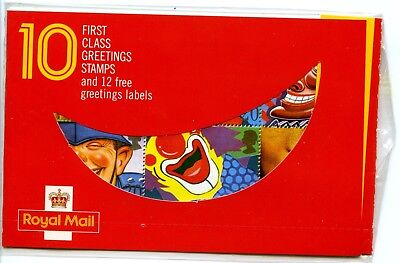 1990 GREETINGS/SMILES GREAT BRITAIN SET BLOCK 10v IN FOLDER U/M Cat.£30 FREEPOST