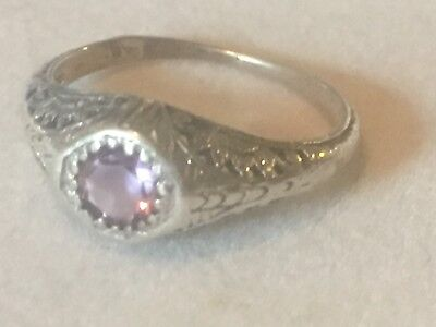 Gorgeous Antique Sterling Silver and Amethyst Ring in a Size 4