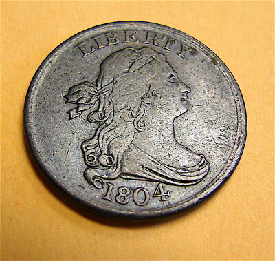1804 Spiked Chin Draped Bust Half Cent Coin------Nice Coin