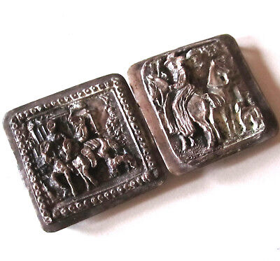 Antique Womans Belt Buckle Silver Plated Raised Hunting Scene Horse & Dog