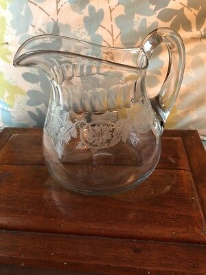 Antique Vintage Hand Blown Clear Crystal Glass Large Pitcher Etched Floral Deal!
