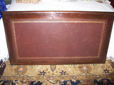 """Mahogany desk top with brown leather inset, 4' x 2'3"""", dark oak colour"""