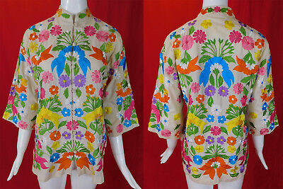 Vintage Chuchi Imports Philippines Colorful Floral Embroidered Blouse Jacket Top