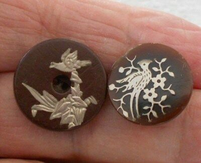 Antique/vintage 2 Gorgeous Silver Inlay Buttons  #183