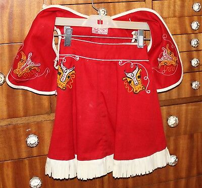 VTG 40S-50s COWBOY COWGIRL RODEO WESTERN SKIRT VEST RED W/FRINGE WALLS OF TEXAS