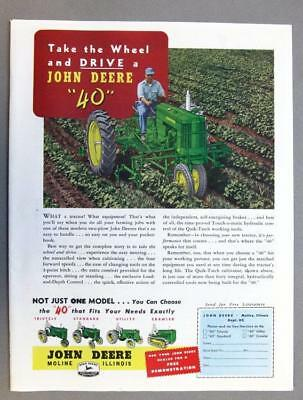 8x11 Original 1954 John Deere 40 Tractor Ad TAKE THE WHEEL & DRIVE A J-D 40