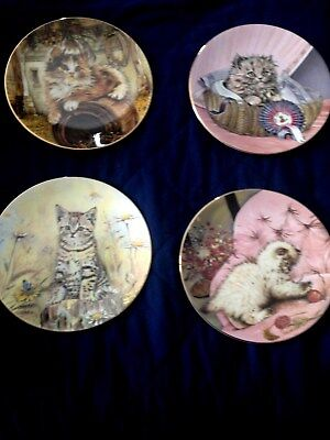 Lot of 4 Royal Worcester kitten classics Hamilton collection cat plates w/box