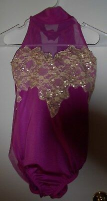 Kelle Dance Costume/Recital Small/Adult Mauve with lace and sequins appliques