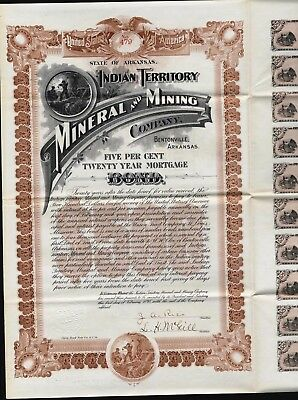 $500  Indian Territory Mineral And Mining Co, Bond, Bentonville, Ak, 1898 +20 Cp